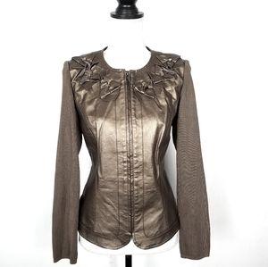 Peter Nygard Bronze Metallic Leather Jacket